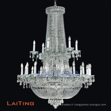 New design modern style crystal big chandeliers with iron silver finished, OEM welcomed