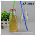 Factory Supply High Flint Empty Flower Embossed Glass Juice Bottle