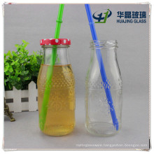 Factory Supply High Flint Empty Flower Embossed Glass Juice Bottle
