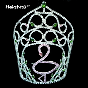 8in Height Flamingo Crystal Pageant Crowns