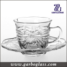 Glass Tea Cup & Saucer Set with Embossed Design (TZ-GB09D2706HDY)