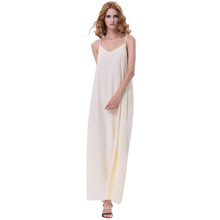Kate Kasin Sexy Womens Sommer Casual Lose Spaghetti-Trägern V-Ausschnitt Champagner Lang Maxi Kleid KK000700-3