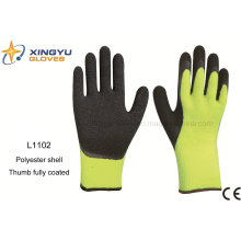 10g High Grade Polyester Shell Latex Coated Crinkle Safety Work Glove with Thumb Coating (L1102)