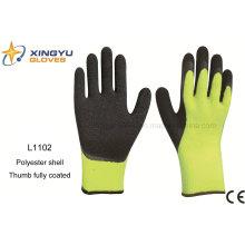 10g hochwertiger Polyester Shell Latex beschichtet Crinkle Sicherheit Arbeitshandschuh mit Daumen Beschichtung (L1102)