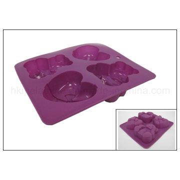 Urso e coração em forma de molde de bolo de silicone (RS22)