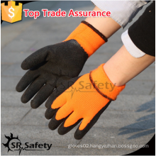 SRSAFETY 2016 winter use safety gloves/foam latex glove/orange gloves