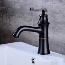 Cheap price black color ORB basin faucet single hole cold and hot brass washbasin faucet