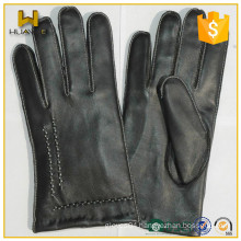 China factory Custom men winter nappa leather gloves with white thread