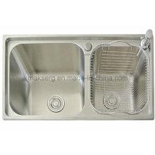 Évier de cuisine à double vasque en acier inoxydable