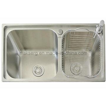 Handgefertigte Doppelwaschbecken aus Edelstahl