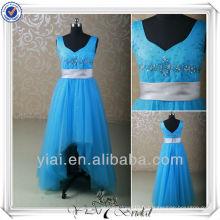 RSE155 Bleu Tulle Ceinture en argent Épaules larges Robes de soirée pour enfants