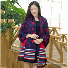 2015 Nueva bufanda de la manera del patrón de estrella de la señora del invierno del diseño