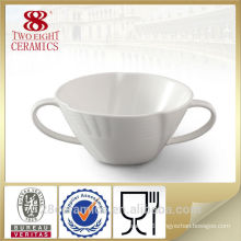 Wholesale restaurant crockery, soup bowl with handle, white soup cup for restaurant