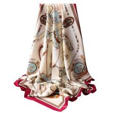 Senhora de alta qualidade impresso lenço de seda com padrão de cadeia de sarja de seda de poliéster 90x90 cm lenço quadrado