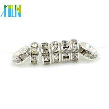 BB073 Perla de espaciador redonda de diamantes de imitación de plata