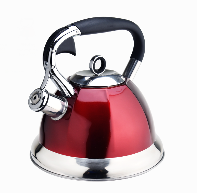red color whistling spout tea kettle 393