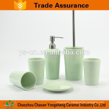 New beautiful porcelain eco-friendly bath set with green relief