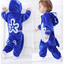 Macio bebê Flanela Romper Animal Onesie Pijamas Outfits Terno, desgaste do sono, bonito pano azul, toalha de bebê com capuz