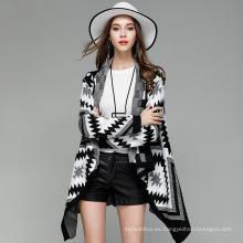 Nuevo estilo 2017 patrón de moda azteca de punto mujeres opean suéter frontal poncho