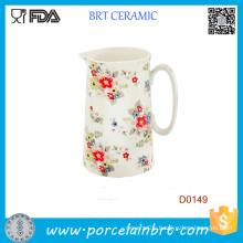 Red Flower Juice Milk Breakfast Kitchen 14cm Water Jug