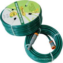 Manguera de jardín de PVC reforzado resistente a UV de 30m (100′) con hilo de poliéster