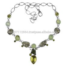 Moldavite Lemon Quartz Pyrite Idocrase & Prehnite Gemstone with 925 Sterling Silver Necklace Jewelry