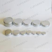 Frascos de creme cosmético de alumínio com tampa do parafuso