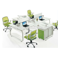 Hot sale office four seats stuff desk furniture pearl white + parrot green,Office desks furniture design (JO-5003B)