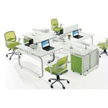 Oficina caliente de la venta cuatro asientos materia de escritorio de la materia del escritorio perla blanco + verde del loro, muebles de los muebles de escritorio de la oficina (JO-5003B)