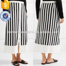 Una línea de sarga de rayas blancas y negras de mezcla de algodón Midi falda de verano Fabricación de ropa de mujer de moda al por mayor (TA0031S)