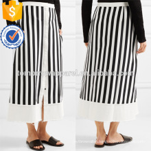 A-Line Twill Black And White Striped Cotton-Blend Midi Summer Skirt Manufacture Wholesale Fashion Women Apparel (TA0031S)