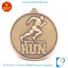 Suministro de alta calidad personalizada de cobre estampado medalla de maratón 3D a precio de fábrica