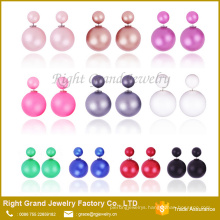 Mixed Candy color double matt pearl earring studs