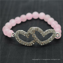Rose Quartz 8MM Perles rondes Stretch Gemstone Bracelet avec diamante en alliage Double coeur Piece