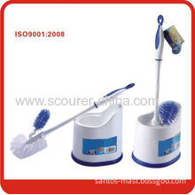 High Quality Blue With White Toilet Brush With Holder For Home Cleaning