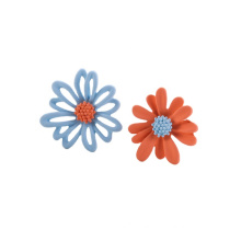 Hot Sales Jewelry 925 Silver Post Asymmetrical Cute Small Colorful Daisy Flower  Earrings