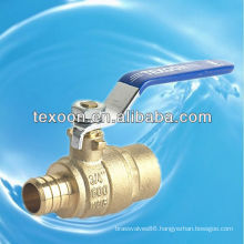 Low lead Pex copper brass steel handle ball valves(pex*sweat)