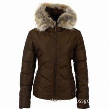Classical Women's Warm Padded Down Jacket, Gorgeous Fur Trim