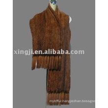 Knitted nature mink fur shawl
