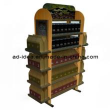 Flooring Wooden Wine Bottle Display Shelf/Beverage Exhibition Rack (AD-1305)