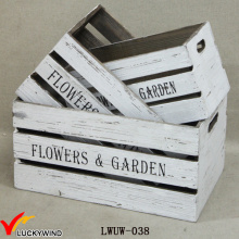 Crate Style Box Antique White Wood Planters