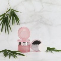 Pink waist glass cosmetic jar and bottle