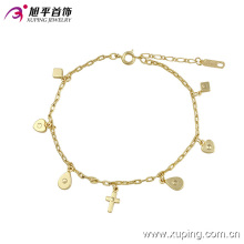 73901 Fashion Elegant 14k Gold-Plated Imitation Jewelry Anklet with Heart Cross Design