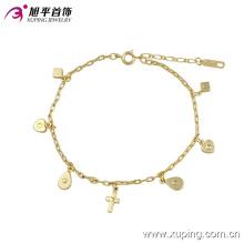 73901 moda elegante 14k banhado a ouro imitação jóias tornozeleira com design de cruz de coração
