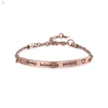 A barra gravada de aço inoxidável do ouro de Rosa acredita sempre no senhor mesmo o bracelete