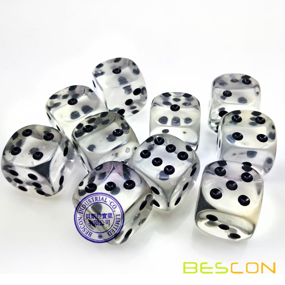Venta al por mayor Crystal Clear Tranrsparent Plastic Dice 19MM