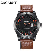 Fashion Mens Watch Leather Strap Bezels with Screws Luminous Numbers on Dial