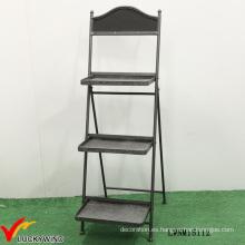 Retro Industrial de 3 niveles de metal decorativo plegable estante