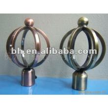 Ferro fio cortina pólo finial, venda quente novo design ferro forjado cortina finial