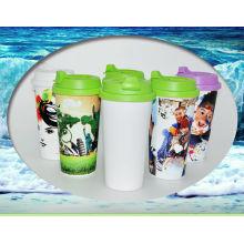 Caneca plástica do curso, garrafa do esporte da sublimação, garrafa de água plástica